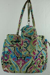 "Vera Bradley Paisley Purse Hand Bag and Wallet 12"" x 10"" Blue Green Pink"