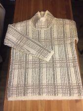 NEW / $158 Sundance Catalog Melody Plaid Pullover Sweater White Gray / M