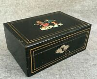 Antique french Napoleon III jewelry makeup box painted wood early 1900's key