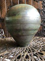 RAKU VASE ARTIST SIGNED LARGE POTTERY VASE. Created with a low-firing process.