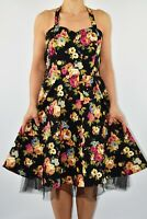 Lindy Bop Black Floral Dress Flare Cotton Summer Rockabilly Holiday Size 12 X