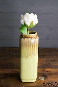 Handmade Lime Ceramic Square Flower Vase Home Glossy Gift Rectangle Decorative