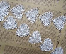 15pcs Vintage Hearts Bow Lace Edge Trim Ribbon Wedding Applique DIY Sewing Craft