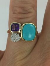 10KT Genuine Sleeping Beauty Turquoise, Amethyst & White Topaz Ring Size 7