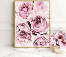 Large Scandinavian Flower Print, Floral Wall Art, Blush Pink 50x70cm
