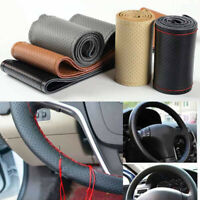 Genuine Leather DIY Universal Car Auto Steering Wheel Cover With Needles Thread