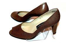 "New Etienne Aigner Reptile Look Brown Leather Peep Toe 3"" Pumps Women's 8.5 M"