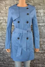 Women's Long Smart Blue Cotton Trenchcoat Trench Coat Jacket Uk Size 14