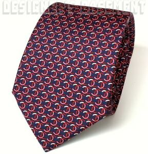 CHANEL navy with Red & White Large Interlocking CC Logos 100% silk tie NEW Auth