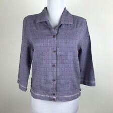 The North Face A5 Series Blouse Sz S M Purple 3/4 Sleeves Top Button Front Crop