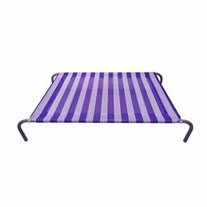 Allmax Medium Elevated Pet Bed, Purple and White Stay-Cool Elevated Pet Bed