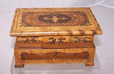 "Antique Solid Wood Musical Jewelry Box Ornate Marquetry 6.5""x4""x3.25"" Handmade"