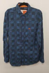 Modern Amusement Mens Shirt Abstract Check Blue Cotton Sz M