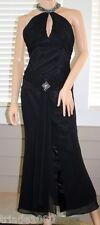 ENTICE Sexy Black Evening Dress SZ 4,Halter Chiffon Overlay Dramatic Striking!