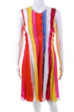 Prabal Gurung Womens Silk Sleeveless Rainbow A-Line Dress Pink Yellow Size 4