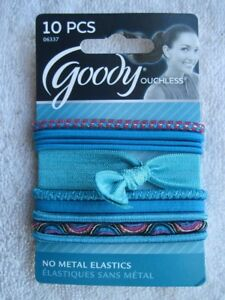 10 Goody Ouchless Designer Series Hair Bands No Metal Elastics Ribbon White Pony