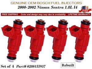 4 Fuel Injectors OEM BOSCH for 2000-2002 Nissan Sentra 1.8L I4 #0280155937