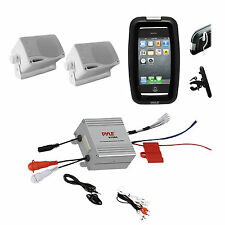 Marine Boat Offroad Bike Use iPod MP3 Input Amplifier, 2 Box Speakers Phone Case