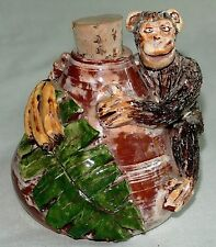 Hand Made Majolica Art Pottery Monkey Flask/Bottle-OOAK Artisan
