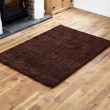 Extra Large Thick 5cm High Pile Plain Shaggy Chocolate Brown Rugs 200x290cm