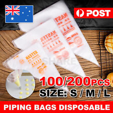 200 Plastic Disposable Piping Pastry Bag Icing Frosting Cake -Large Medium Small