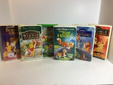 6 Vhs Movies-Lion King,Franklin,Beauty & the Beast,Winnie the Pooh,Fox & Hound