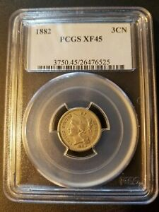1882 3 Cent Nickel * PCGS XF45 * Only 22,200 Minted *