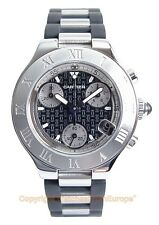 Ladies CARTIER MUST 21 Chronograph Steel watch W10198U2 Box/Papers Retail $4350