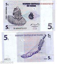 CONGO AFRIQUE BILLET 5 CENTIMES 1997 P81 NEUF UNC