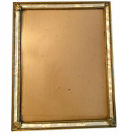Vintage Ornate Abolone Shell Gold Tone Tin Picture Frame