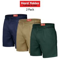 Mens Hard Yakka Drill Short 2PK Side Tab Shorts Cotton Work Tough Trade Y05340