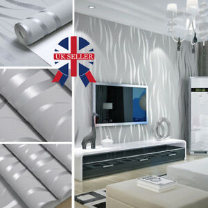 Modern 3D Crescent Wave Stripes Embossed Non-woven Flocking Wallpaper Grey Hot
