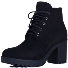 Womens Lace Up Chunky Block Heel Platform Ankle Boots Shoes