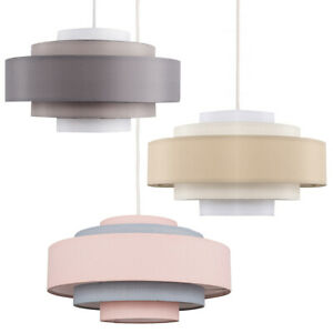 Modern Ceiling Pendant Light Shade 5 Tier Easy Fit Cotton Lampshade LED Bulb