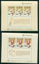 EUROPA 1985 Azores + Madeira Souvenir sheets NH, VF Scott $34.00
