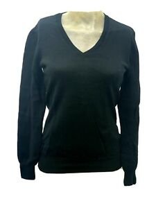 CASHMERE Wool Kirkland Signature Black V-Neck Woman Sweater Size Small