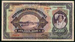 CZECHOSLOVAKIA 5000 KORUN 1920 SPECIMEN, VF
