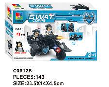 Woma SWAT Motorrad mit Beiwagen Polizei Spezaileinheit Bausteine Set C0512B