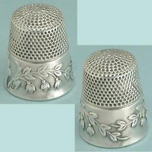 Antique Sterling Silver Lily of the Valley Thimble by KMD w/ Patent * C1880s