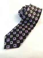 Colours Alexander Julian Mens 100% Silk Necktie Purple Shades Geo Handmade Tie