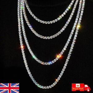 Mens Womens Iced Out Silver Diamond Shiny Chain Tennis Necklace Choker Jewellery