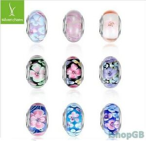 Top Quality Flower Murano Glass Bead Charm Fitted European Bracelet