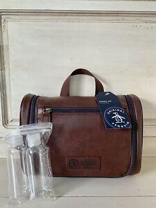 NWT Original Penguin Men's Shaving Toiletry Bag Dopp Hanging Travel Kit Brown