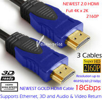 3x HDMI Cable v2.0 Gold Full HD 3D 1080p 2160p 4K Ethernet ARC Highend Lead 6FT