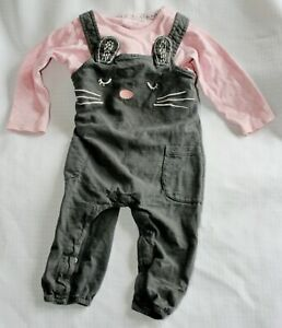 F+F girls grey / pink cat dungerees set - age 6 - 9 months