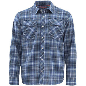 NEW Simms Mens Shirt Sz M Flannel Gallatin Long Sleeve Rich Blue Plaid New