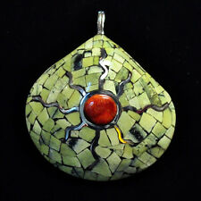 Native American Serpentine, Apple Coral and Silver Asian Clam Shell Pendant
