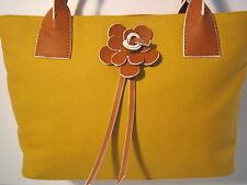 MAXX NY GOLD CANVAS w Brown LEATHER HANDLES & Flower Trim Handbag Purse NWOT