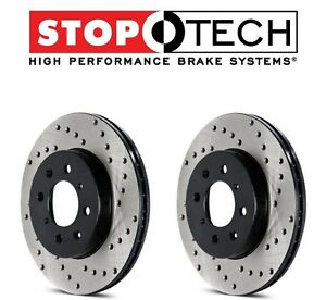 For Mercedes W203 W208 W209 W210 Pair Set of Rear StopTech Drilled Brake Rotors