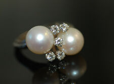 Original 1950's Twin 10mm Cultured Pearl & Diamond Dinner Ring 14k